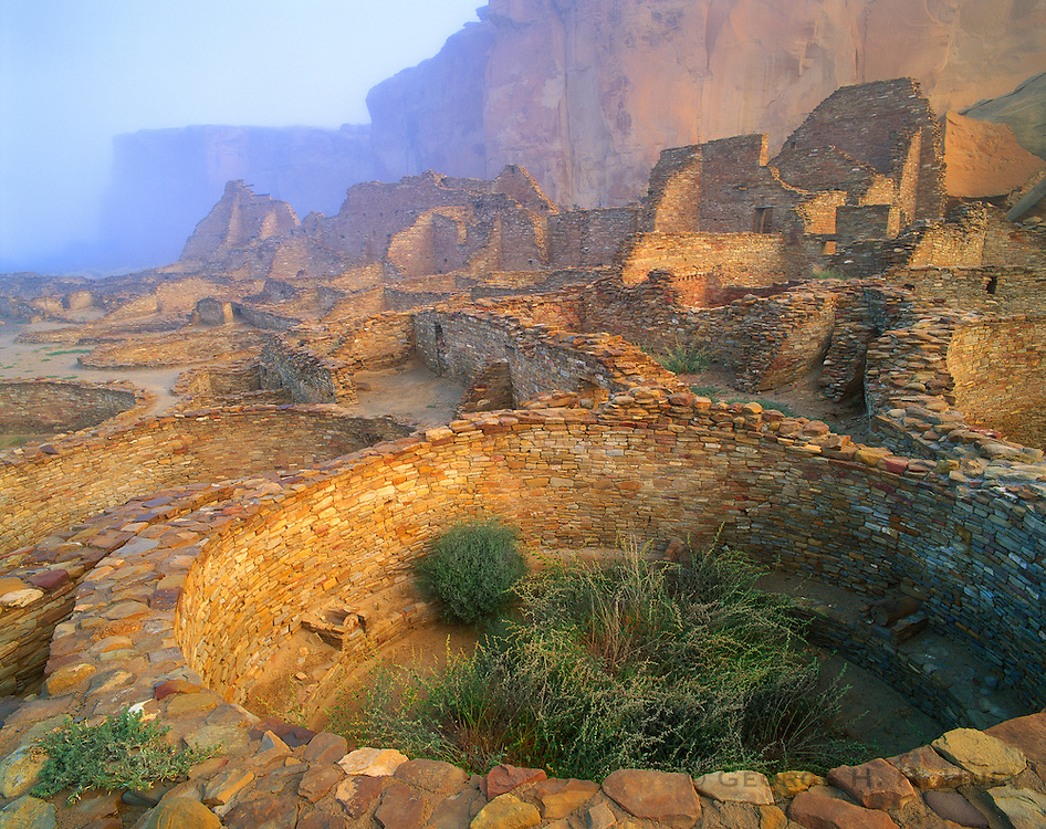 0204-1000LVT ~ Copyright: George H. H. Huey ~ Kivas in morning fog at Pueblo Bonito, the 3 acre Anasazi culture 'great houe' with over 600 rooms, 33 kivas, built A.D. 850-1130.  Chaco Culture National Historical Park, New Mexico.