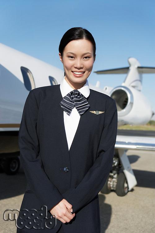 Stewardess Beside an Airplane