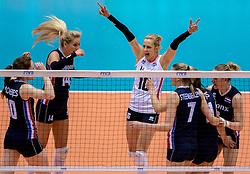 20-05-2016 JAP: OKT Italie - Nederland, Tokio<br /> De Nederlandse volleybalsters hebben een klinkende 3-0 overwinning geboekt op Itali&euml;, dat bij het OKT in Japan nog ongeslagen was. Het met veel zelfvertrouwen spelende Oranje zegevierde met 25-21, 25-21 en 25-14 / Laura Dijkema #14, Debby Stam-Pilon #16