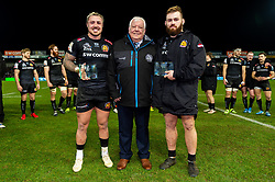 Exeter Chiefs CEO Tony Rowe OBE presents Jack Nowell of Exeter Chiefs and Luke Cowan-Dickie of Exeter Chiefs with their Centurion award after making his 100th Appearance for Exeter Chiefs during their win over Saracens - Mandatory by-line: Ryan Hiscott/JMP - 29/12/2019 - RUGBY - Sandy Park - Exeter, England - Exeter Chiefs v Saracens - Gallagher Premiership Rugby
