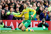 Norwich City midfielder Emi Buendía (17) celebrates scoring the opening goal 1-0 during the EFL Sky Bet Championship match between Norwich City and Queens Park Rangers at Carrow Road, Norwich, England on 6 April 2019.