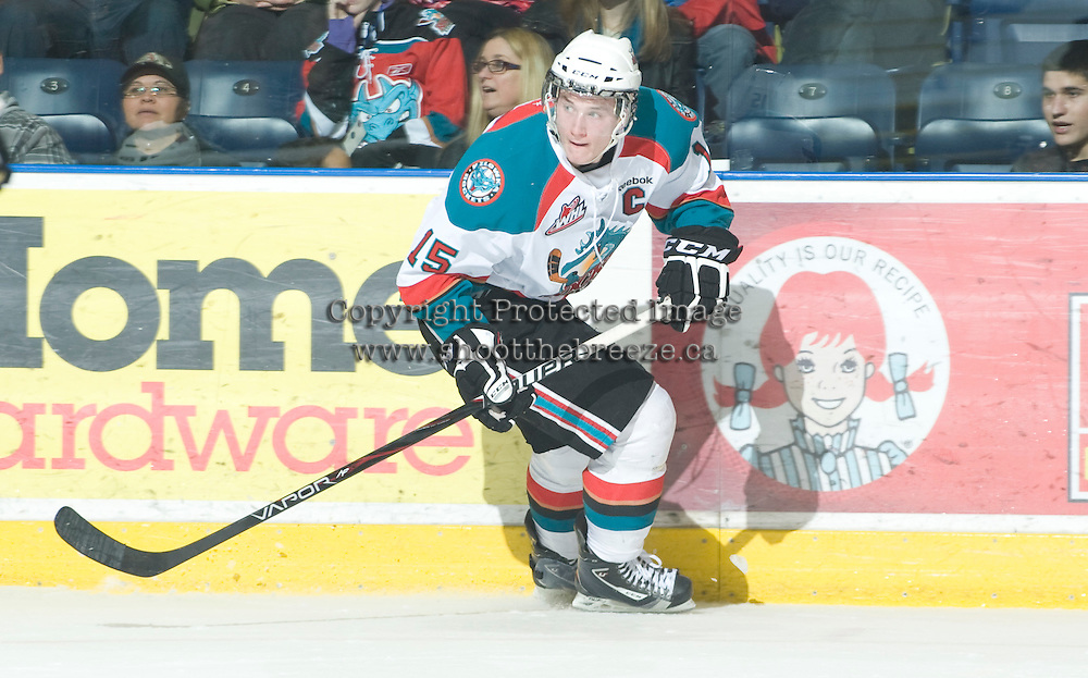 KELOWNA, CANADA, JANUARY 1: Colton Sissons #15 of the Kelowna Rockets skates on the ice as the Calgary Hitmen visit the Kelowna Rockets on January 1, 2012 at Prospera Place in Kelowna, British Columbia, Canada (Photo by Marissa Baecker/Getty Images) *** Local Caption ***