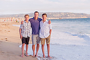 Father and Sons at Hermosa Beach, California