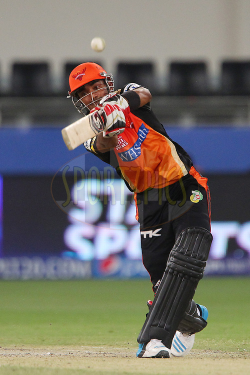 K.L Rahul of the Sunrisers Hyderabad during match 20 of the Pepsi Indian Premier League Season 2014 between the Mumbai Indians and the Sunrisers Hyderabad held at the Dubai International Stadium, Dubai, United Arab Emirates on the 30th April 2014<br /> <br /> Photo by Ron Gaunt / IPL / SPORTZPICS