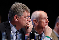 30.04.2016, Messe, Stuttgart, GER, 5. Bundesparteitag der AfD, im Bild Prof. Dr. Joerg Meuthen, Vorsitzender der AFD,daneben Albrecht Glaser // during the 5th party convention of the Alternative for Germany (AfD) at the Messe in Stuttgart, Germany on 2016/04/30. EXPA Pictures © 2016, PhotoCredit: EXPA/ Sammy Minkoff<br /> <br /> *****ATTENTION - OUT of GER*****