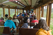 A WPYR car and passengers on the way  to Skagway from Lake Bennett.