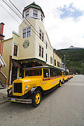 Skagway Streetcar and Northern Lights Hotel, one of the original buildings in the frontier town of Skagway, Alaska.