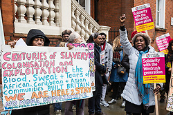 London, UK. 4th February, 2019. Descendants of the Windrush generation, including Joyce Reid (r), Chair of Croydon Central Labour Party, and activists from Movement for Justice and other campaign groups opposed to the Government's hostile environment policy protest outside the Jamaican High Commission against plans by the Home Office and Jamaican government to recommence mass deportation charter flights on 6th February. The enforced removals are reported to include people who came to the UK as children and parents with British children and the deportation flight would be the first since March 2017 and the Windrush scandal.