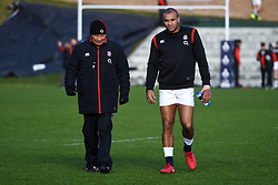 England rugby coach Eddie Jones (left) and Jonathan Joseph during the training session at Pennyhill Park, Bagshot.
