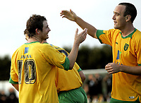 Fotball<br /> Treingskamp Friendly<br /> 22.07.08<br /> Sjövalla Stadion<br /> Falkenbergs FF - Norwich City<br /> Jamie Cureton celebrates his goal with Lee Croft<br /> Foto - Kasper Wikestad