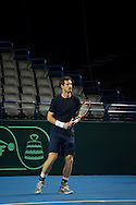 Britain's Andy Murray pictured practising on the Davis Cup Practise Day at Birmingham Indoor Arena, Birmingham<br /> Picture by Anthony Stanley/Focus Images Ltd 07833 396363<br /> 03/03/2016