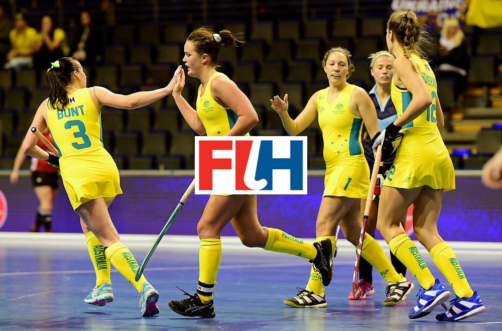 BERLIN - Indoor Hockey World Cup<br /> Women: Ukraine - Australia<br /> foto: Australia celebrates.<br /> WORLDSPORTPICS COPYRIGHT FRANK UIJLENBROEK