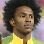 FOXBOROUGH, MASSACHUSETTS - JUNE 12:   Willian #19 of Brazil during team presentations before the Brazil Vs Peru Group B match of the Copa America Centenario USA 2016 Tournament at Gillette Stadium on June 12, 2016 in Foxborough, Massachusetts. (Photo by Tim Clayton/Corbis via Getty Images)