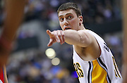 April 21, 2012; Indianapolis, IN, USA; Indiana Pacers power forward Tyler Hansbrough (50) points to a teammate against the Philadelphia 76ers at Bankers Life Fieldhouse. Philadelphia defeated Indiana 109-106. Mandatory credit: Michael Hickey-US PRESSWIRE