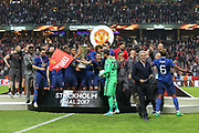 Manchester United celebrate winning the Europa League trophy with Manchester United Manager Jose Mourinho during the Europa League Final between Ajax and Manchester United at Friends Arena, Solna, Stockholm, Sweden on 24 May 2017. Photo by Phil Duncan.