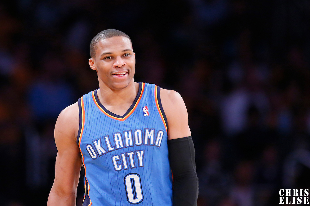 09 March 2014: Oklahoma City Thunder point guard Russell Westbrook (0) smiles during the Los Angeles Lakers 114-110 victory over the Oklahoma City Thunder at the Staples Center, Los Angeles, California, USA.
