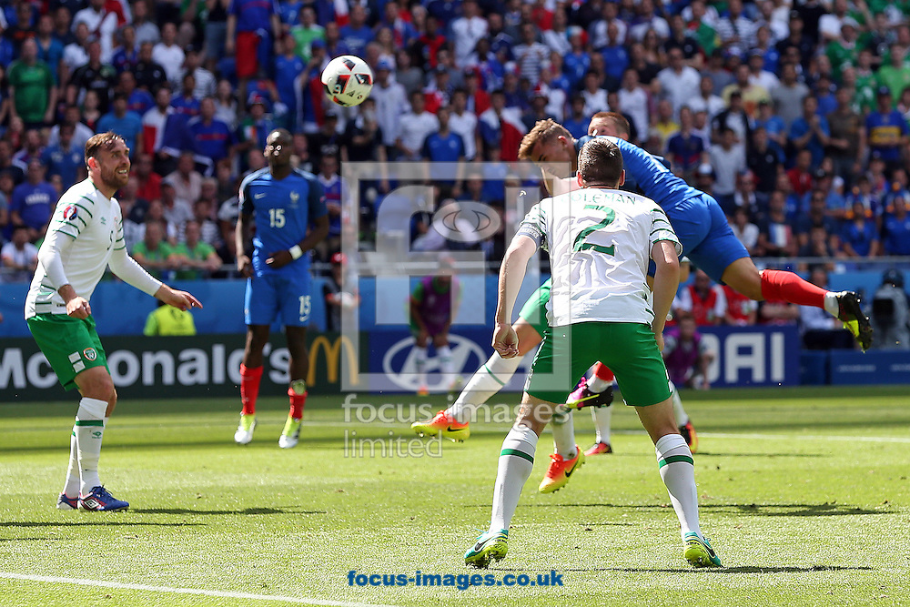 Antoine Griezmann of France scores his sides equalising goal during the UEFA Euro 2016 match at Stade de Lyons, Lyons<br /> Picture by Paul Chesterton/Focus Images Ltd +44 7904 640267<br /> 26/06/2016