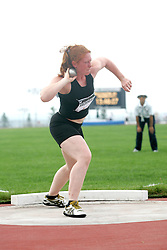 (Sherbrooke, Canada---21 July 2006) Senior women's shot put in the Senior Women's Heptathlon at the  2006 Canadian Junior Track and Field Championships and Canadian Multi-Events Championships 21-23 July 2006 held in Sherbrooke Quebec. She was competing in and won the Senior Women's Heptathlon. Copyright 2006 Sean Burges / Mundo Sport Images, www.mundosportimages.com