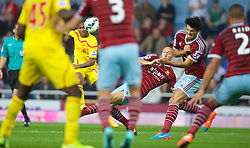 LONDON, ENGLAND - Saturday, September 20, 2014: Liverpool's Raheem Sterling in action against West Ham United during the Premier League match at Upton Park. (Pic by David Rawcliffe/Propaganda)