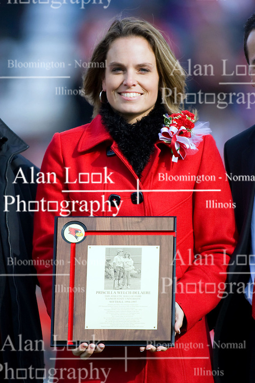 17 October 2009: Priscilla Welch-Delaere is admitted to the Redbird Hall of Fame. The Indiana State Sycamores tumble to the Illinois State Redbirds 38-21 at Hancock Stadium on campus of Illinois State University in Normal Illinois
