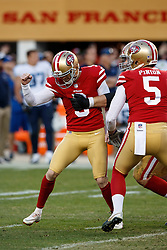 SANTA CLARA, CA - DECEMBER 17: Kicker Robbie Gould #9 of the San Francisco 49ers celebrates after kicking the game winning field goal against the Tennessee Titans during the fourth quarter at Levi's Stadium on December 17, 2017 in Santa Clara, California. The San Francisco 49ers defeated the Tennessee Titans 25-23. (Photo by Jason O. Watson/Getty Images) *** Local Caption *** Robbie Gould