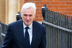 © Licensed to London News Pictures. 11/03/2016. London, UK. Shadow chancellor JOHN MCDONNELL arriving at The RSA to give a speech on the economy and the public finances in London on Friday, 11 March 2015. Photo credit: Tolga Akmen/LNP