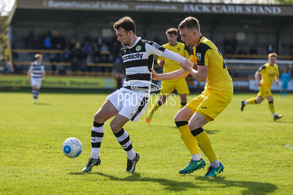 Forest Green Rovers Christian Doidge(9) shields the ball during the Vanarama National League match between Southport and Forest Green Rovers at the Merseyrail Community Stadium, Southport, United Kingdom on 17 April 2017. Photo by Shane Healey.