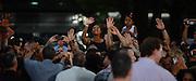 President Barack Obama interacts with the crowd after a rally in Parma, Ohio, Thursday.