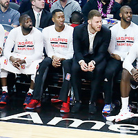 04 January 2017: LA Clippers forward Paul Pierce (34), LA Clippers guard Raymond Felton (2), LA Clippers forward Wesley Johnson (33), LA Clippers forward Blake Griffin (32), LA Clippers guard Chris Paul (3) and LA Clippers forward Brandon Bass (30) are seen on the bench during the LA Clippers 115-106 victory over the Memphis Grizzlies, at the Staples Center, Los Angeles, California, USA.