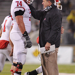 Oct 23, 2009; West Point, N.Y., USA; Rutgers offensive lineman Howard Barbieri (74) gets advice from head coach Greg Schiano during Rutgers' 27 - 10 victory over Army at Michie Stadium.