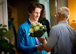 Peter Prevc, Silver and bronze medalist in ski jumping with Miro Cerar at reception of Slovenia team arrived from Winter Olympic Games Sochi 2014 on February 19, 2014 at Airport Joze Pucnik, Brnik, Slovenia. Photo by Vid Ponikvar / Sportida