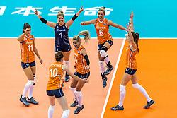 07-10-2018 JPN: World Championship Volleyball Women day 8, Nagoya<br /> Netherlands - Puerto Rico 3-0 / Laura Dijkema #14 of Netherlands, Anne Buijs #11 of Netherlands, Kirsten Knip #1 of Netherlands, Maret Balkestein-Grothues #6 of Netherlands, Lonneke Sloetjes #10 of Netherlands, , Yvon Belien #3 of Netherlands