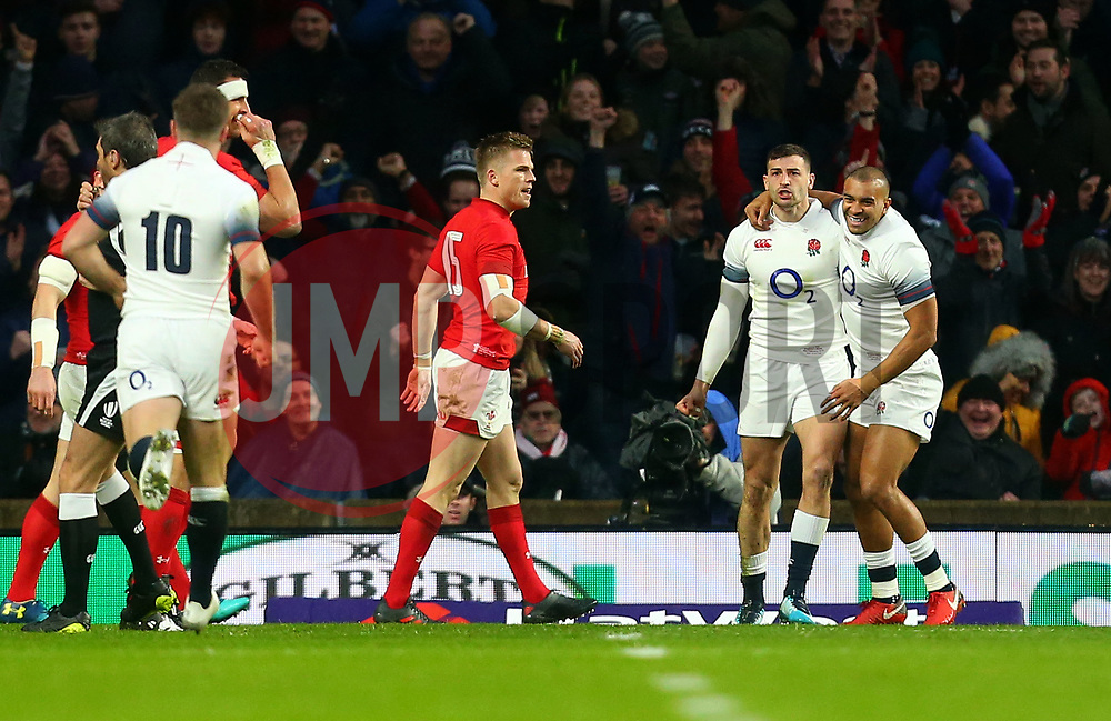Jonny May of England celebrates scoring a try against Wales - Mandatory by-line: Robbie Stephenson/JMP - 10/02/2018 - RUGBY - Twickenham Stoop - London, England - England v Wales - Women's Six Nations