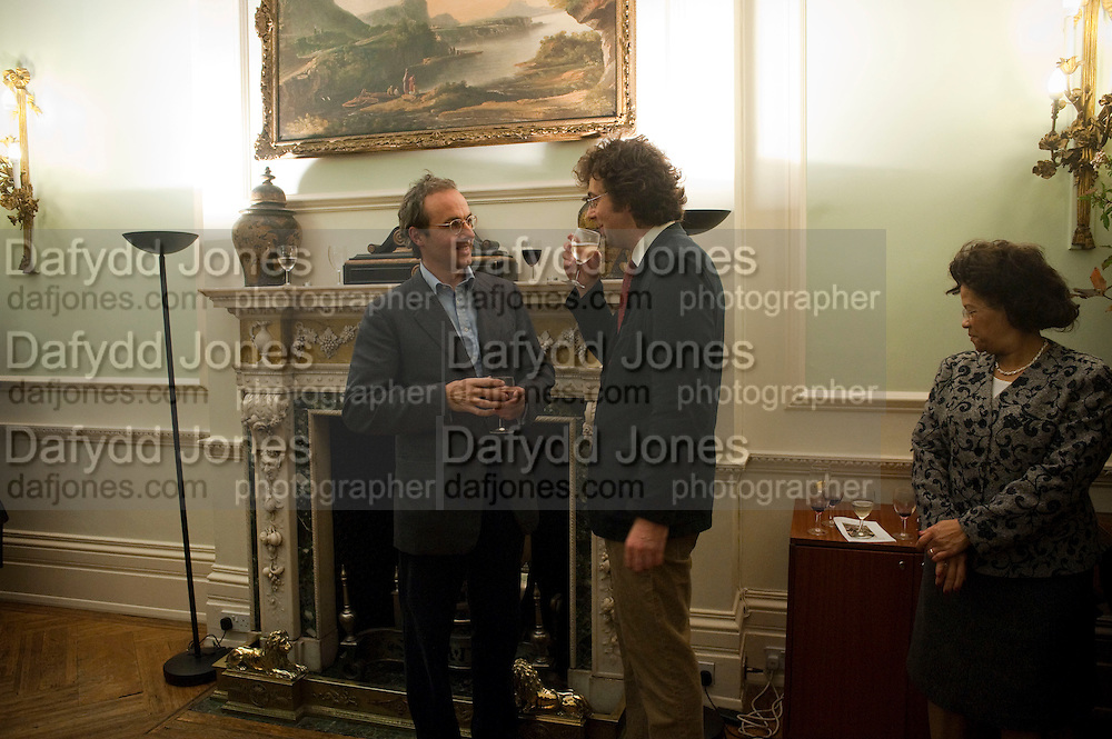 WILLIAM BLACKER; BARNABY BLACKER, Party to celebrate the publication of 'Along the Enchanted Way' by William Blacker. Hosted by the Blacker family. 2 Belgrave Sq. London. 12 November 2009.  *** Local Caption *** -DO NOT ARCHIVE-© Copyright Photograph by Dafydd Jones. 248 Clapham Rd. London SW9 0PZ. Tel 0207 820 0771. www.dafjones.com.<br /> WILLIAM BLACKER; BARNABY BLACKER, Party to celebrate the publication of 'Along the Enchanted Way' by William Blacker. Hosted by the Blacker family. 2 Belgrave Sq. London. 12 November 2009.