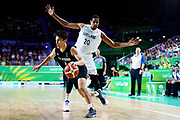Derone Raukawa of New Zealand on the drive during the Men's Bronze Medal Game between the New Zealand Tall Blacks and Scotland. Gold Coast 2018 Commonwealth Games, Basketball, Gold Coast Convention & Exhibition Centre, Gold Coast, Australia. 15 April 2018 © Copyright Photo: Anthony Au-Yeung / www.photosport.nz