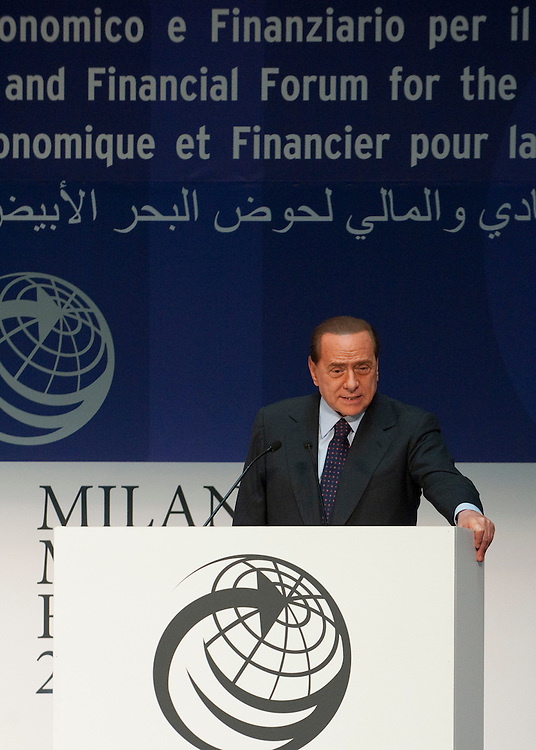 """MILAN, ITALY - JULY 12:  Italian Prime Minister Silvio Berlusconi gives the final speech at the opening session of the Med Forum 2010 on July 12, 2010 in Milan, Italy. Mr Berlusconi announced today """" I am not a playboy anymore. I am rather a play old""""..***Agreed Fee's Apply To All Image Use***.Marco Secchi /Xianpix. tel +44 (0) 207 1939846. e-mail ms@msecchi.com .www.marcosecchi.com"""