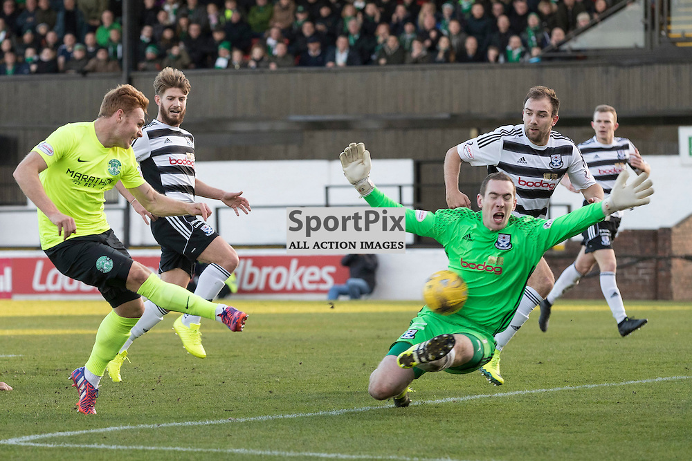 Ayr v Hibernian   SPFL season 2016-2017  <br /> <br /> Fraser Fyvie (Hibernian) shot is saved by Greg Fleming (Ayr United FC) during the Ladbrokes Championship match between Ayr &amp; Hibernian at Somerset Park Stadium on 5 November 2016<br /> <br /> Picture: Alan Rennie