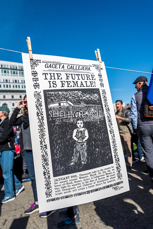 San Francisco, California, USA. 20th January, 2018. The 2018 Women's March in San Francisco, organized by Women's March Bay Area. One of the hand-inked commemorative posters for the event made free for marchers by the Poster Syndicate San Francisco.