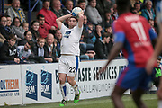 Adam Buxton (Tranmere Rovers) takes a throw in during the Vanarama National League second leg play off match between Tranmere Rovers and Aldershot Town at Prenton Park, Birkenhead, England on 6 May 2017. Photo by Mark P Doherty.