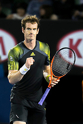 © Licensed to London News Pictures. 27/01/2013. Melbourne Park, Australia. Andy Murray celebrates after winning a point during the Mens Final between Novak Djokovic and Andy Murray of the Australian Open. Photo credit : Asanka Brendon Ratnayake/LNP