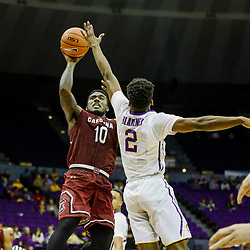 Feb 1, 2017; Baton Rouge, LA, USA; South Carolina Gamecocks guard Duane Notice (10) shoots over LSU Tigers guard Antonio Blakeney (2) during the second half of a game at the Pete Maravich Assembly Center. South Carolina defeated LSU 88-63. Mandatory Credit: Derick E. Hingle-USA TODAY Sports