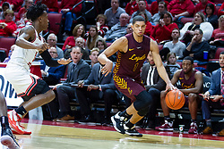 NORMAL, IL - January 19: DJ Horne arrives to defend Lucas Williamson during a college basketball game between the ISU Redbirds and the Loyola University Chicago Ramblers on January 19 2020 at Redbird Arena in Normal, IL. (Photo by Alan Look)