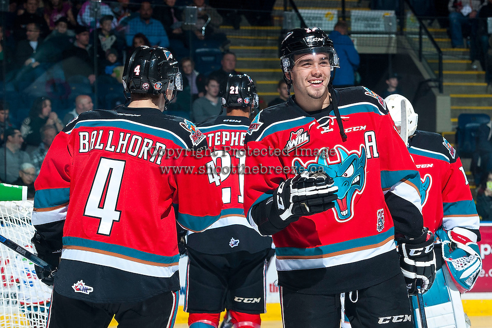 KELOWNA, CANADA - NOVEMBER 11: Rodney Southam #17 of Kelowna Rockets takes part in a pre-game ritual against the Vancouver Giants on November 11, 2015 at Prospera Place in Kelowna, British Columbia, Canada.  (Photo by Marissa Baecker/ShoottheBreeze)  *** Local Caption *** Rodney Southam;