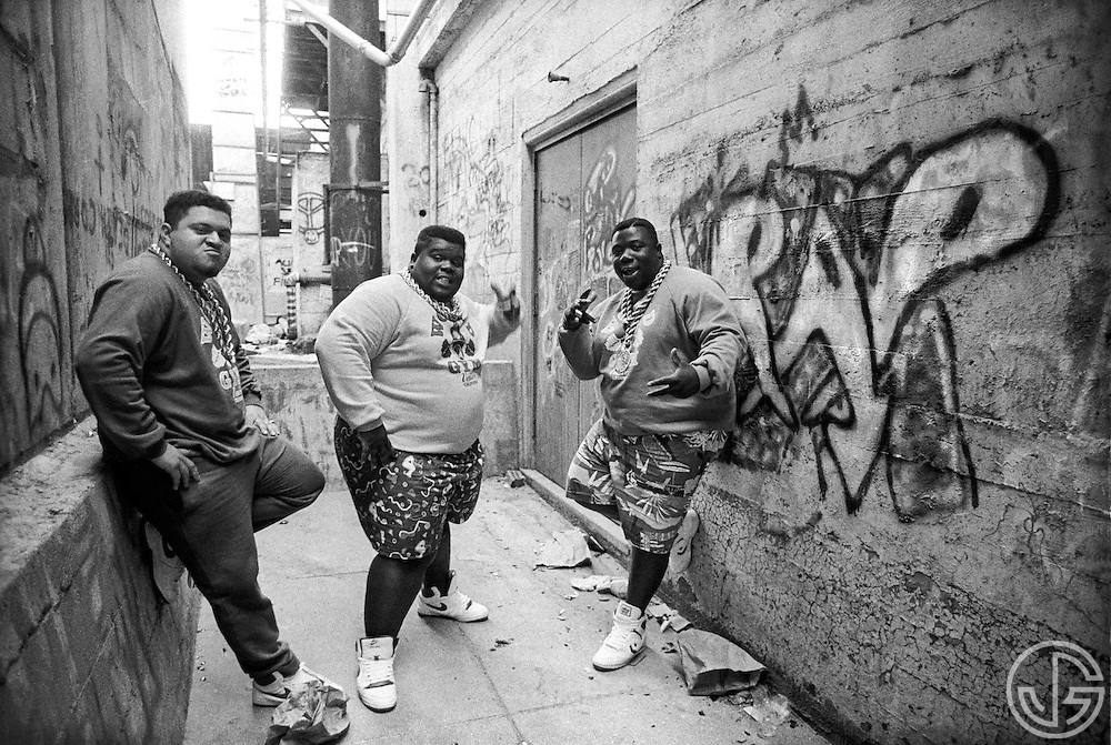Photo by Joe Gosen -- The Fat Boys pose for a portrait in Palo Alto, CA in the summer of 1987.