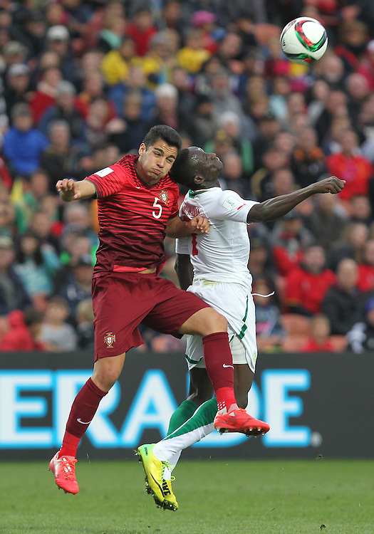 Rafa of Portugal and Ibrahima Wadji of Senegal clash in the group c game of the FIFA u20 World Cup at Waikato Stadium, Hamilton, New Zealand, Sunday, May 31, 2015. Credit:SNPA / Ben Campbell