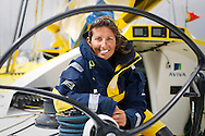 Round the world yachtswoman Dee Caffari aboard her Open 60 yacht, Aviva, ahead of the Vendee Globe race.