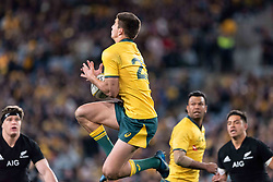 August 18, 2018 - Sydney, NSW, U.S. - SYDNEY, AUSTRALIA - AUGUST 18: Australian player Jack Maddocks (23) catches a high ball at the Bledisloe Cup rugby test match between Australia and New Zealand on August 18, 2018, at ANZ Stadium in Sydney, Australia. (Photo by Speed Media/Icon Sportswire) (Credit Image: © Speed Media/Icon SMI via ZUMA Press)