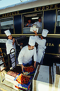 Venice Simplon-Orient-Express. Chefs loading food supplies at the Gare de l?Est.