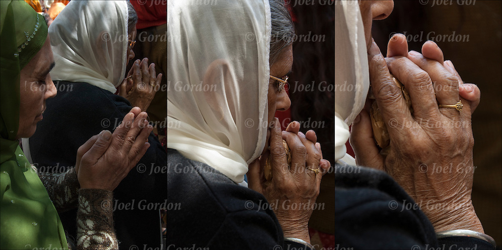 Triptych of close up of hands of Sikh-American women wearing sari or saree, praying before the start of the annual Sikh Day Parade in NYC.