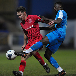 TELFORD COPYRIGHT MIKE SHERIDAN Ryan Barnett of Telford battles for the ball with Joel Taylor during the Vanarama Conference North fixture between AFC Telford United and Chester at the 1885 Arena Deva Stadium on Saturday, December 21, 2019.<br /> <br /> Picture credit: Mike Sheridan/Ultrapress<br /> <br /> MS201920-035